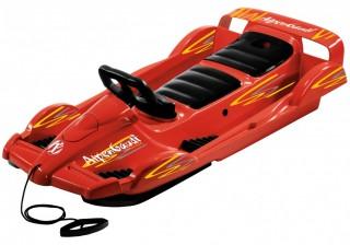 Řiditelné dvoumístné boby DoubleRace červené s volantem